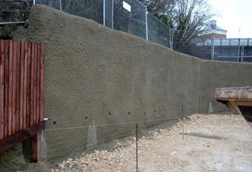 McDonalds drive through finished piled wall